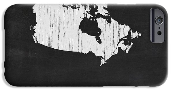 Canada Map iPhone Cases - Canada Chalk Map iPhone Case by Finlay McNevin