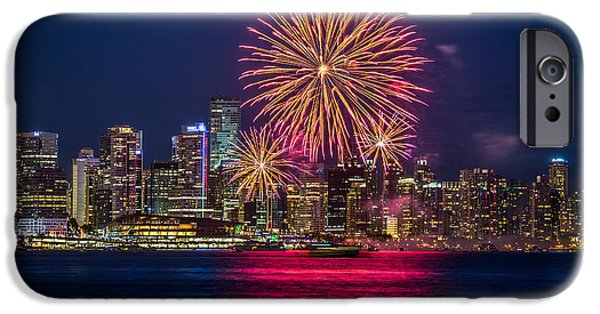 Fireworks iPhone Cases - Canada Day Fireworks Vancouver  iPhone Case by Pierre Leclerc Photography