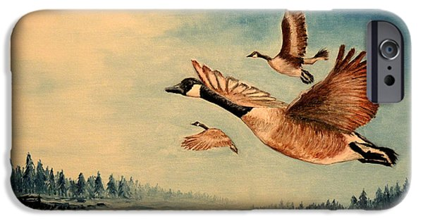 Canadian Geese Paintings iPhone Cases - Canada Geese iPhone Case by Bill Holkham