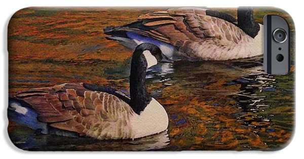 Canada Paintings iPhone Cases - Canada Geese iPhone Case by Ken Everett
