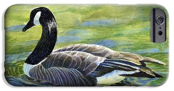 Canadian Geese Paintings iPhone Cases - Canada Goose Reflections iPhone Case by Sharon Freeman