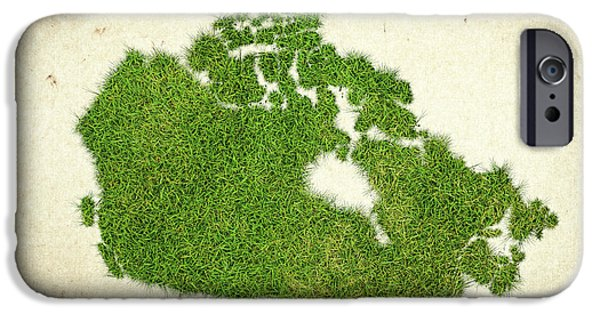 Canadian Map iPhone Cases - Canada Grass Map iPhone Case by Aged Pixel
