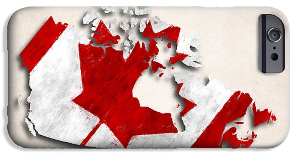 Canadian Map iPhone Cases - Canada Map Art with Flag Design iPhone Case by World Art Prints And Designs