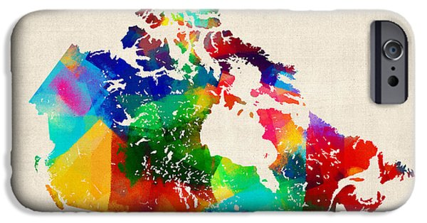 Sponge iPhone Cases - Canada Rolled Paint Map iPhone Case by Michael Tompsett