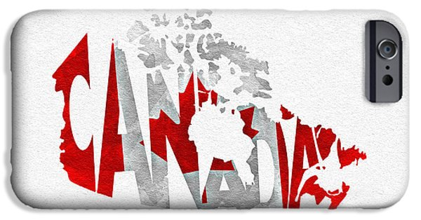Canadian Map iPhone Cases - Canada Typographic Map Flag iPhone Case by Ayse Deniz