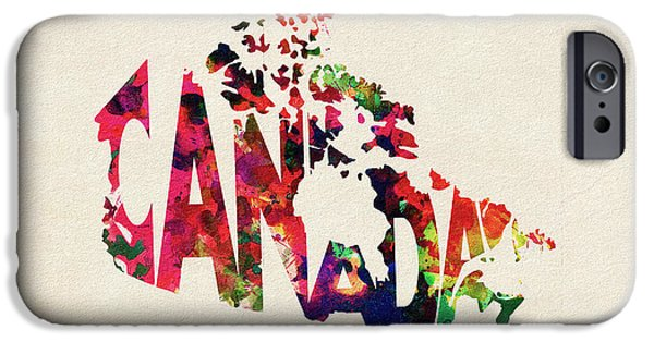 Canadian Map iPhone Cases - Canada Typographic Watercolor Map iPhone Case by Ayse Deniz