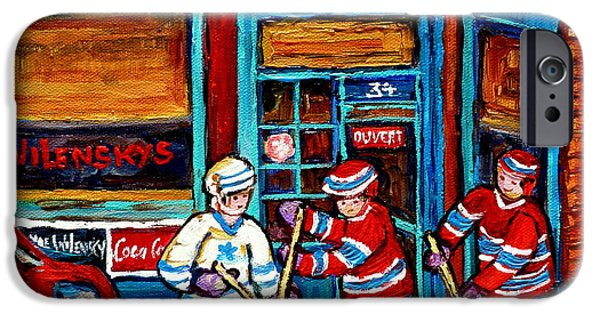 Hockey Paintings iPhone Cases - Canadian Art Wilensky Doorway Hockey Game Paintings Of Winter Montreal Street Scenes Carole Spandau iPhone Case by Carole Spandau