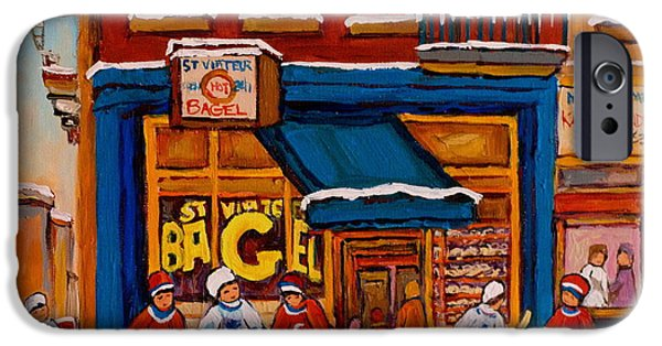 Canada Sports Paintings iPhone Cases - Canadian  Artists Paint Hockey And Montreal Streetscenes Over 500 Prints Available  iPhone Case by Carole Spandau