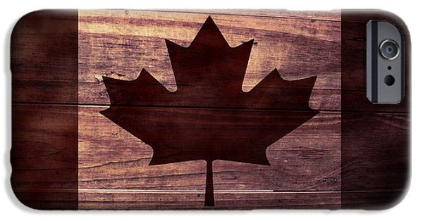 Aged Wood Digital iPhone Cases - Canadian Flag I iPhone Case by April Moen