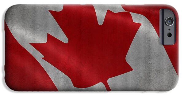 Waving Flag Mixed Media iPhone Cases - Canadian flag waving aged canvas iPhone Case by Eti Reid
