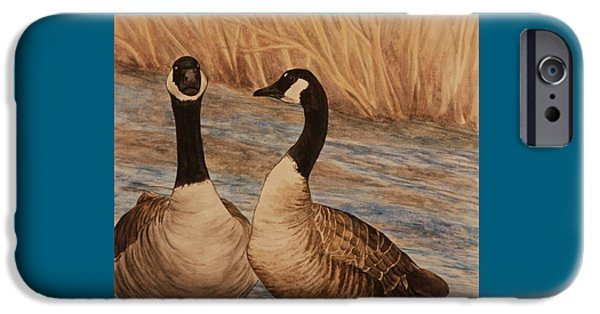Canadian Geese Paintings iPhone Cases - Canadian Geese iPhone Case by Michelle Miron-Rebbe