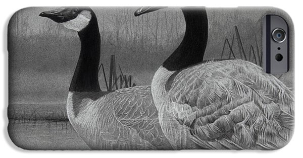 Graphite Drawing iPhone Cases - Canadian Geese iPhone Case by Tim Dangaran