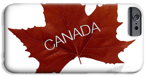 Colour Drawings iPhone Cases - Canadian Maple Leaf iPhone Case by Aged Pixel