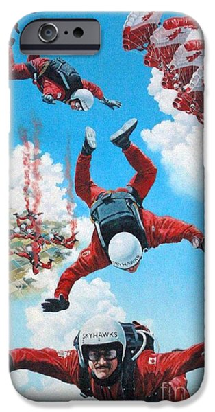 Canada Sports Paintings iPhone Cases - Canadian SkyHawks iPhone Case by Gordon J Weber