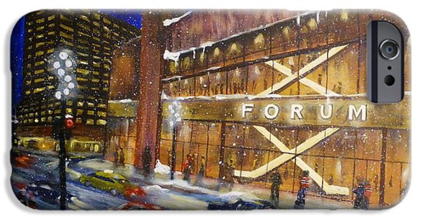 Snowy Night Paintings iPhone Cases - Canadiens Hockey At Montreal Forum iPhone Case by Brent Arlitt