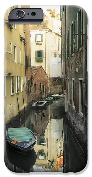 Canal boats and reflections Venice Italy iPhone Case by Marianne Campolongo