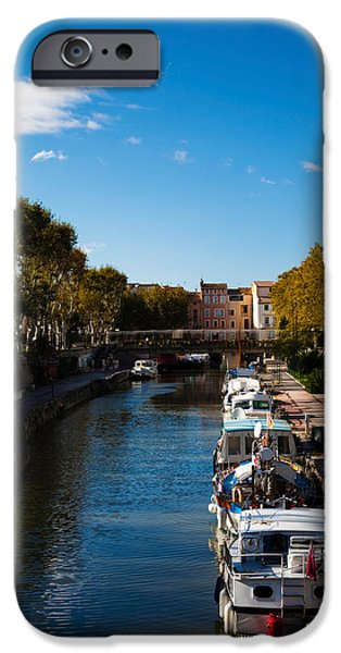 Languedoc iPhone Cases - Canal De La Robine By The Cours iPhone Case by Panoramic Images