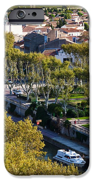 Languedoc iPhone Cases - Canal De La Robine Overview iPhone Case by Panoramic Images