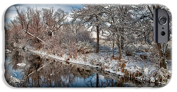 Snow iPhone Cases - Canal of Reflection iPhone Case by Cat Connor