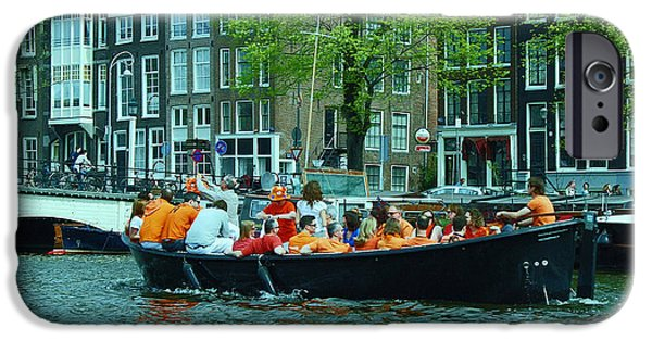 Boat iPhone Cases - Canal Scene 5 - World Cup Fever iPhone Case by Allen Beatty