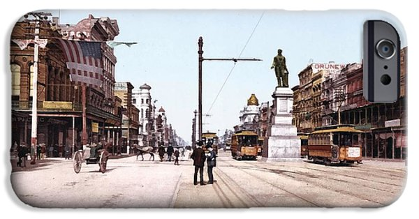 Horse And Buggy iPhone Cases - Canal Street New Orleans 1900 iPhone Case by Unknown