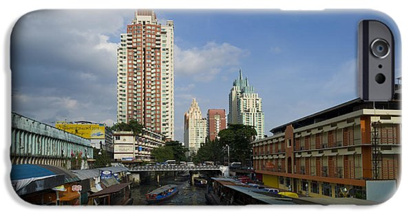 City Scape Photographs iPhone Cases - Canal Taxi, Bangkok iPhone Case by John Shaw