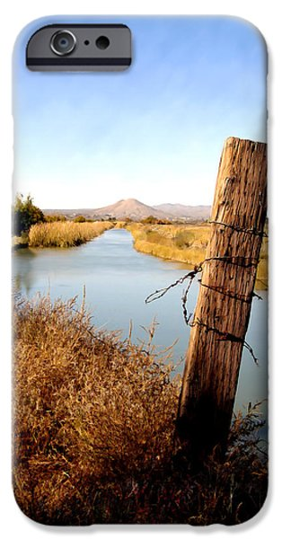 Las Cruces Digital Art iPhone Cases - Canal view  Mesilla iPhone Case by Kurt Van Wagner