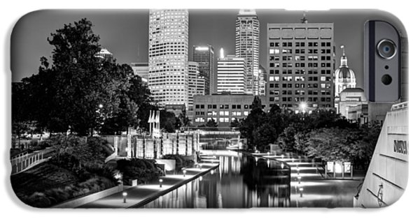 Indianapolis iPhone Cases - Canal Walk to Indianapolis Indianas Skyline iPhone Case by Gregory Ballos