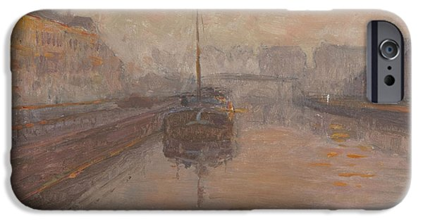 Facade iPhone Cases - Canal With Barge Oil On Panel iPhone Case by Henri Duhem