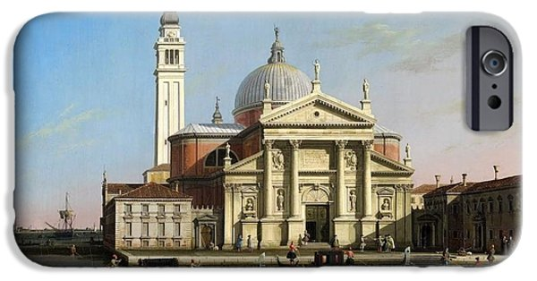Hofner iPhone Cases - Canaletto The Church of S Giorgio Maggiore Venice with sandalos and gondolas  c 1748 iPhone Case by MotionAge Designs