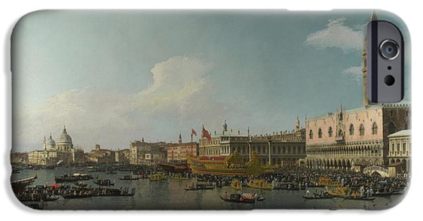 Hofner iPhone Cases - Canaletto Venice The Basin of San Marco on Ascension Day c 1740  iPhone Case by MotionAge Designs
