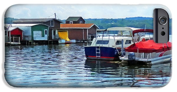 Canandaigua Lake iPhone Cases - Canandaigua Fishing Shacks iPhone Case by Susan Savad