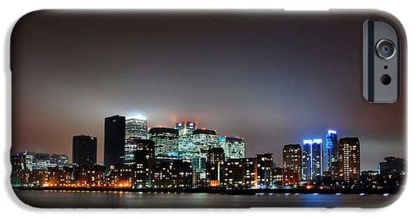 Canary iPhone Cases - London Skyline iPhone Case by Mark Rogan