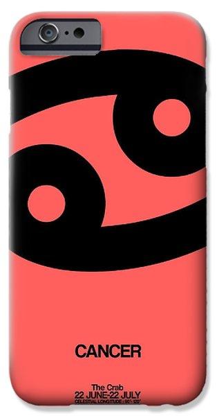 Aquarius iPhone Cases - Cancer Zodiac Sign Black iPhone Case by Naxart Studio