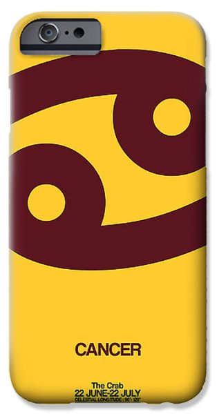 Sign iPhone Cases - Cancer Zodiac Sign Brown iPhone Case by Naxart Studio