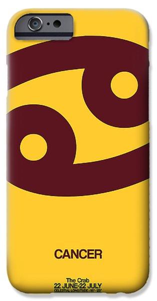 Aquarius iPhone Cases - Cancer Zodiac Sign Brown iPhone Case by Naxart Studio