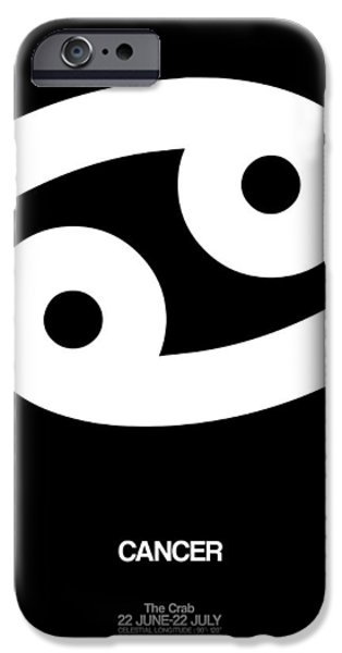 Sign iPhone Cases - Cancer Zodiac Sign White iPhone Case by Naxart Studio