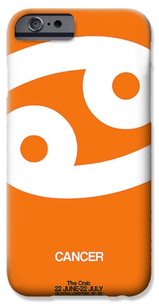 Aquarius iPhone Cases - Cancer Zodiac Sign White on Orange iPhone Case by Naxart Studio