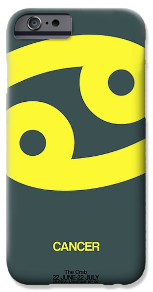 Sign iPhone Cases - Cancer Zodiac Sign Yellow iPhone Case by Naxart Studio