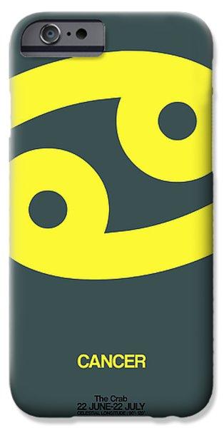Aquarius iPhone Cases - Cancer Zodiac Sign Yellow iPhone Case by Naxart Studio