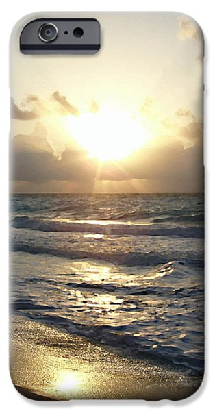 Sun Rays Paintings iPhone Cases - Cancun Sunrise iPhone Case by Ellen Henneke