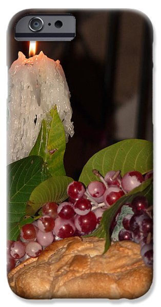 Loaf Of Bread iPhone Cases - Candle and Grapes iPhone Case by Marcia Socolik