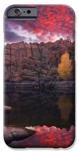 Prescott iPhone Cases - Candle Lit Lake iPhone Case by Peter Coskun