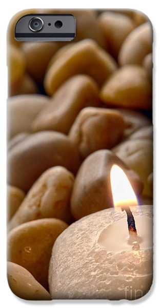 Candle on the Rocks iPhone Case by Olivier Le Queinec