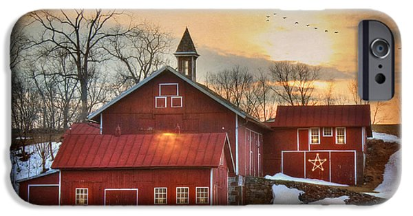 Christmas Holiday Scenery iPhone Cases - Candleglow iPhone Case by Lori Deiter