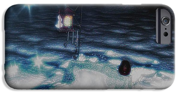 Night Angel iPhone Cases - Candlelight for Christmas iPhone Case by Jennifer McGuire