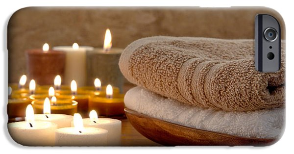 Glowing iPhone Cases - Candles and Towels in a Spa iPhone Case by Olivier Le Queinec
