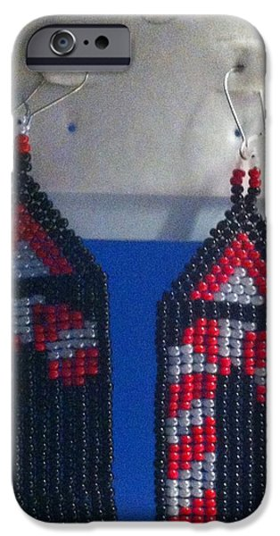 White Jewelry iPhone Cases - Candy Cane with Black Background Handwoven Earrings iPhone Case by Kimberly Johnson
