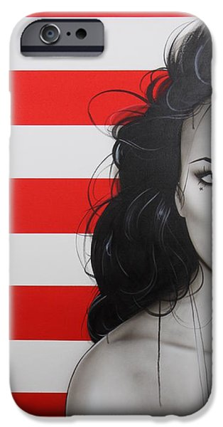 Stripe.paint iPhone Cases - Candy Girl iPhone Case by Christian Chapman Art