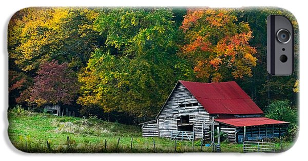 Autumn Scenes Photographs iPhone Cases - Candy Mountain iPhone Case by Debra and Dave Vanderlaan